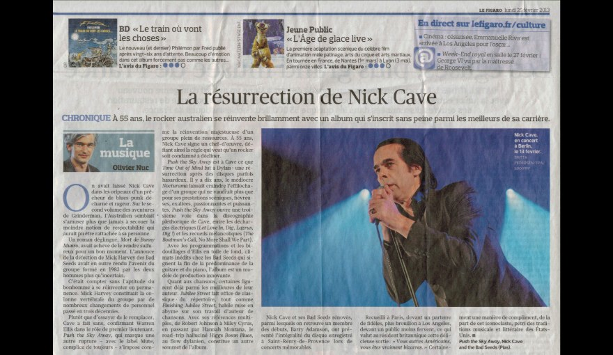 LE FIGARO / NICK CAVE & THE BAD SEEDS